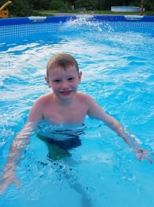 Hunter swimming